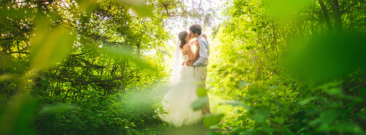 dreamy photo of bride and groom in the woods