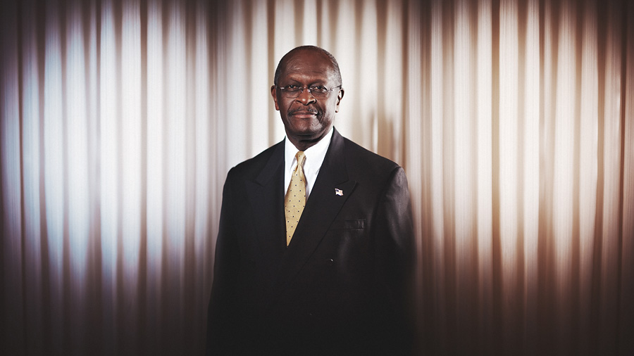 strobist portrait of herman cain
