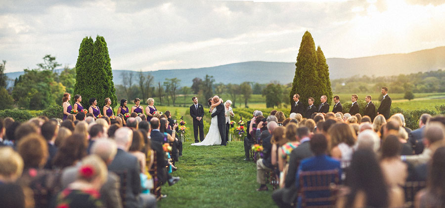 brenizer method of wedding ceremony first kiss
