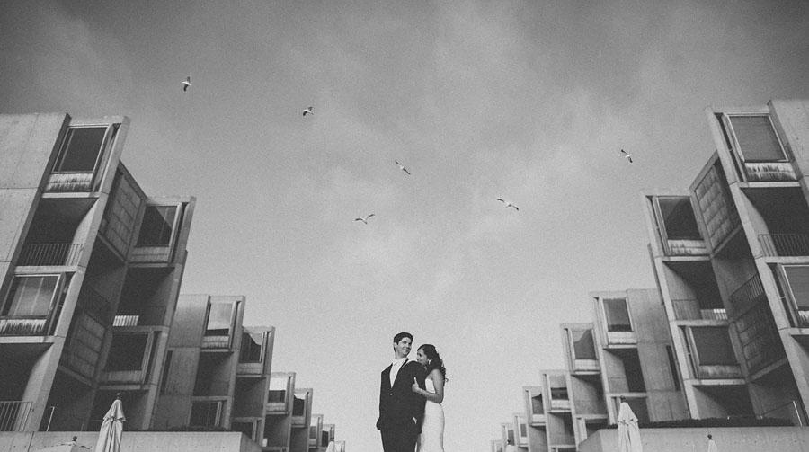 black and white photo of California wedding couple