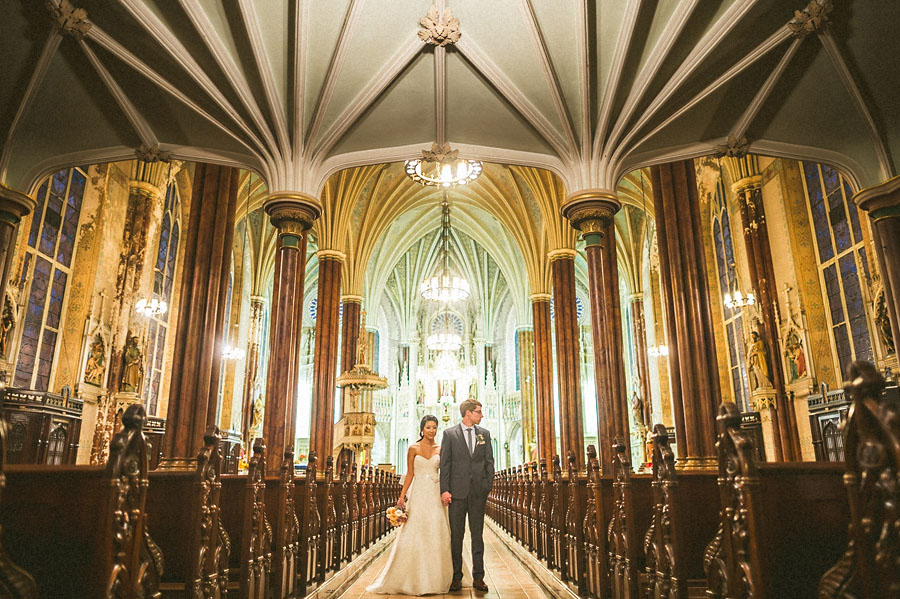 awesome portrait of a couple inside a church in baltimore maryland