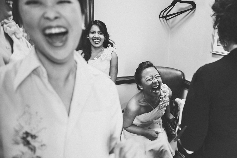 Candid of a bridal party getting ready