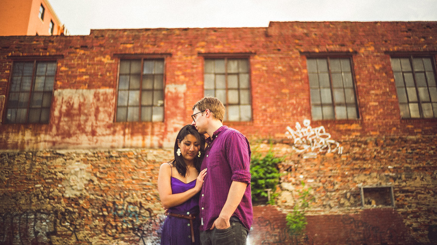 creative engagement session of couple in baltimore