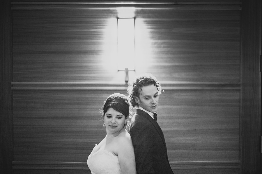 dramatic black and white portrait of wedding couple