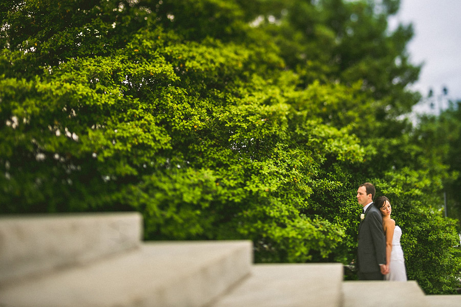 creative tilt shift wedding photo