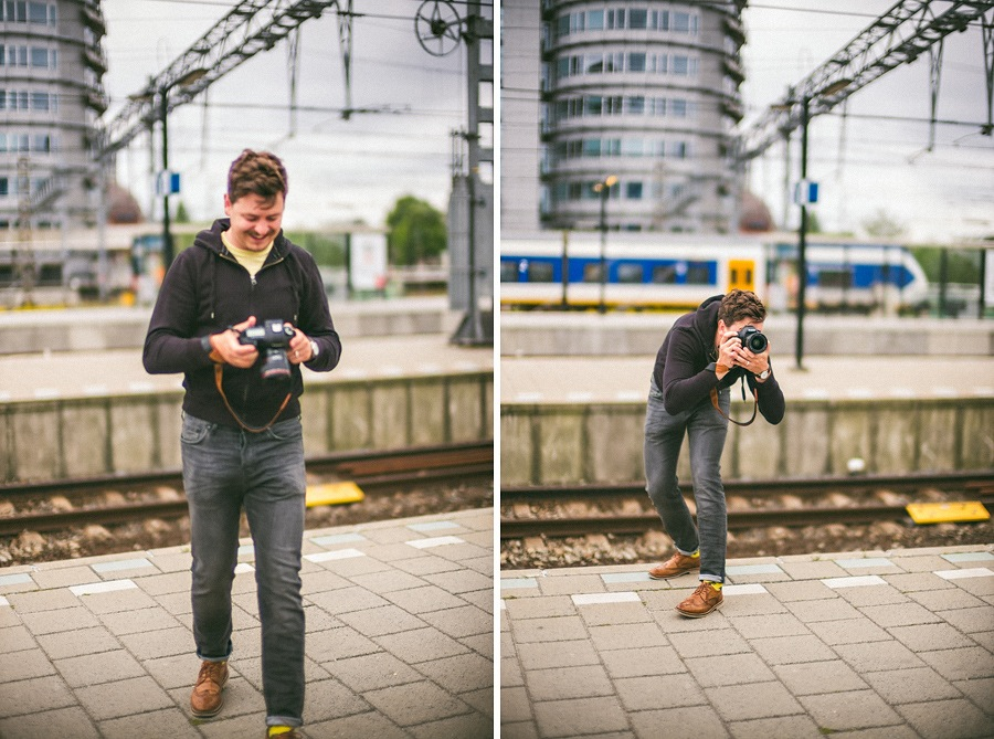 photogrpaher at train station in amsterdam