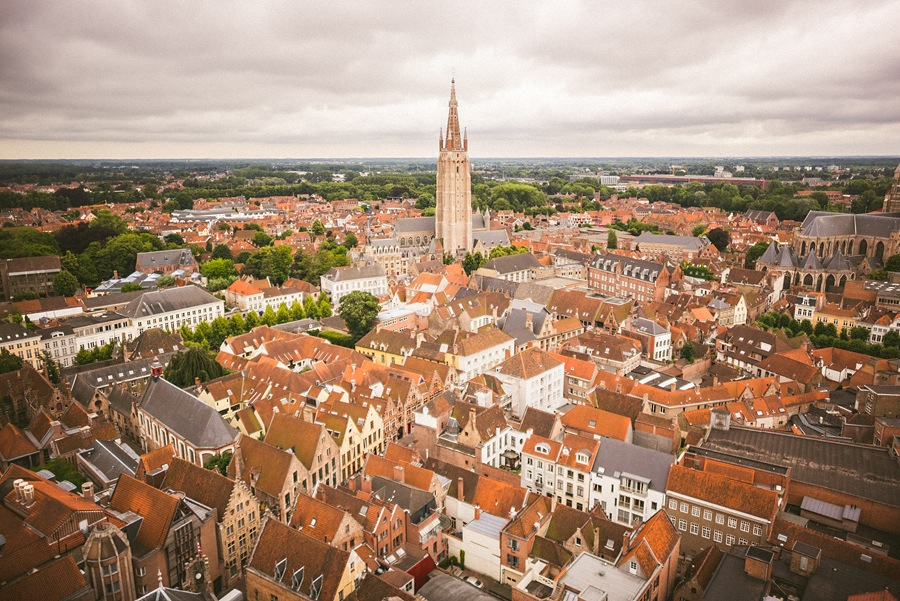 top of city landscape of brugge