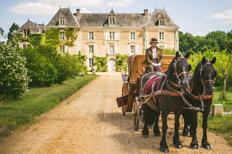 horse and carriage wedding in france