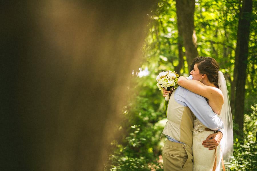 bride and groom hugging first look