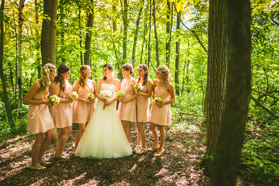 bridesmaids laughing portrait
