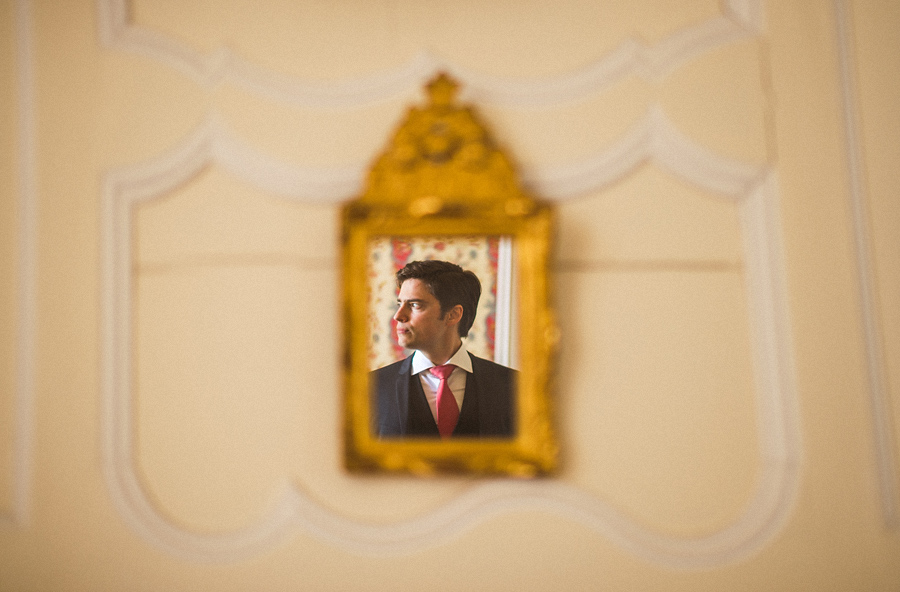 creative portrait of groom in france
