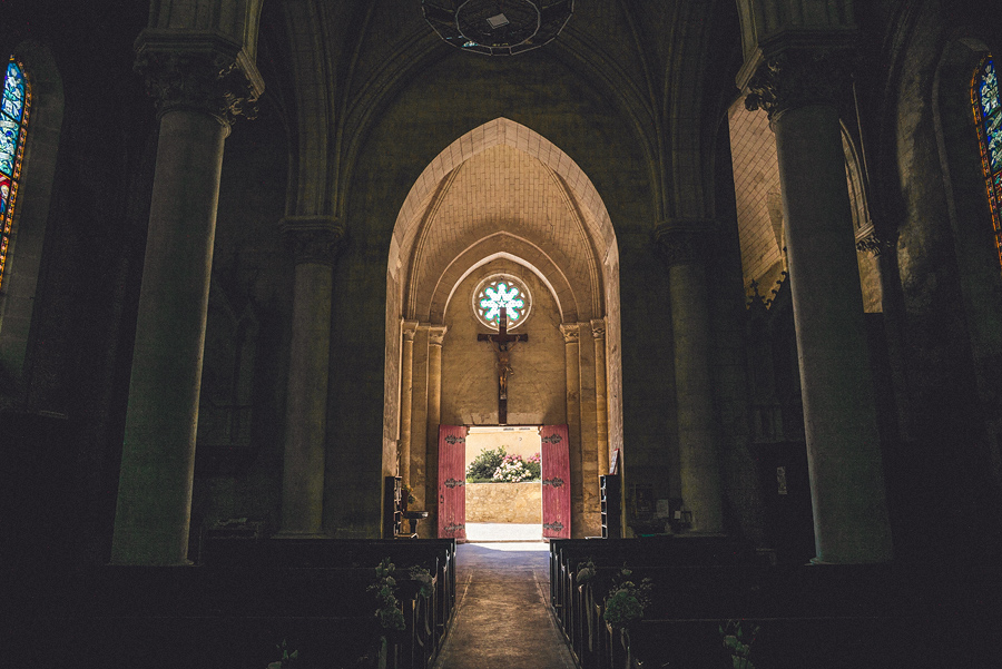back of beautiful church in france