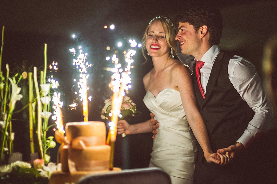 first cake cutting with fireworks