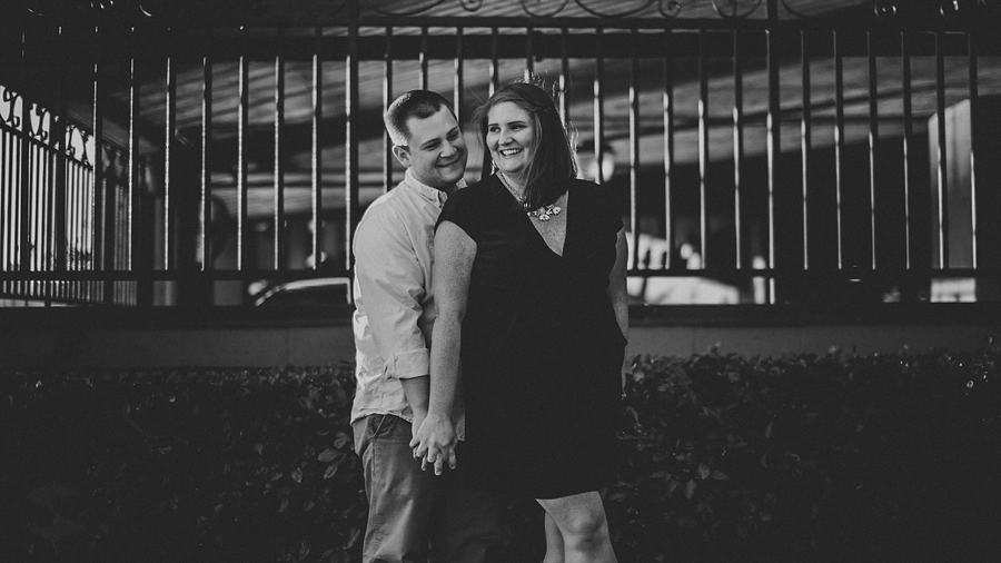 black and white candid engagement photo