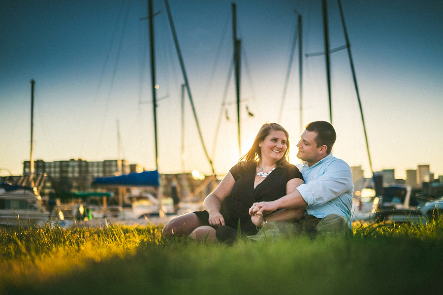 baltimore harbor engagement photos along water