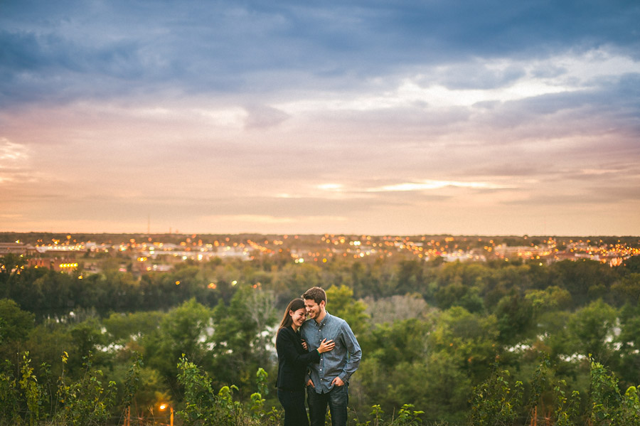 cool sunset engagement photo