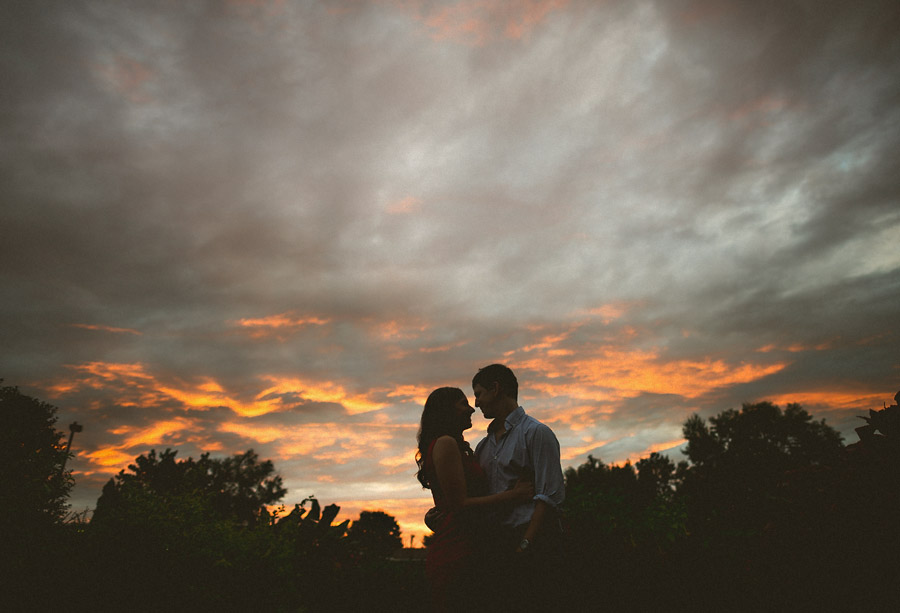 incredible sunset during engagement session