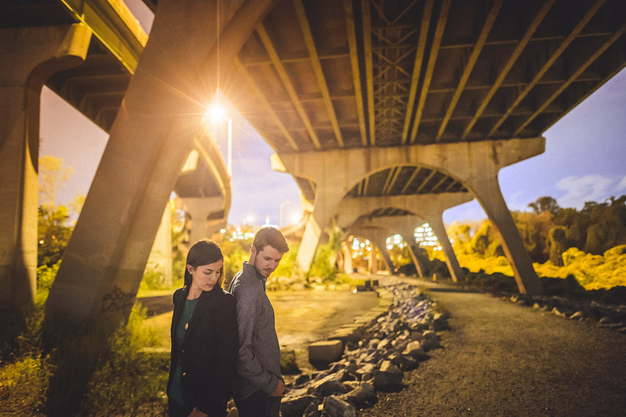 bridge in virginia at night couple portrait