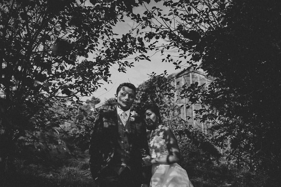 creative abstract black and white bride and groom portrait