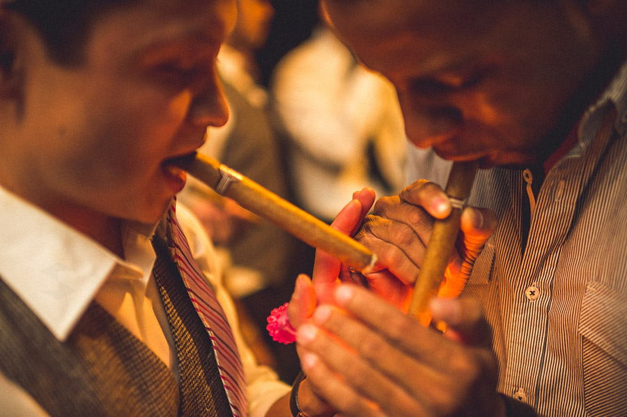 smoking cigars on wedding day