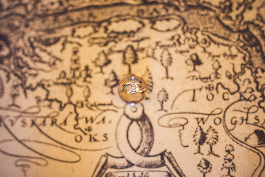 wedding ring detail photo on a map