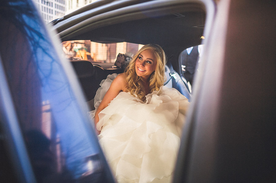 bride getting into limo