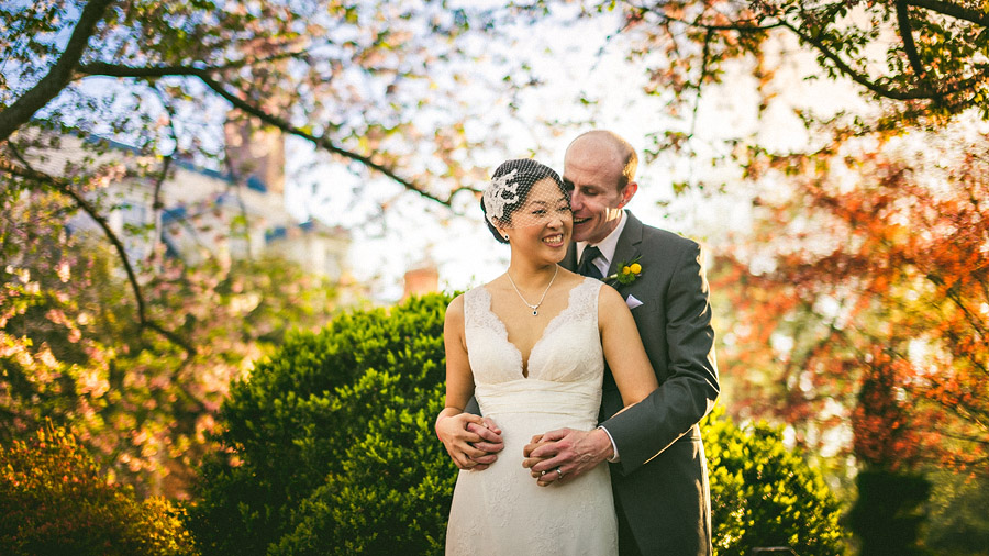 fall time bride and groom portrait