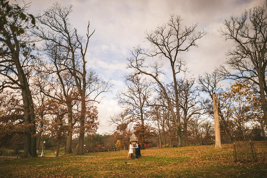 wide shot of druid hill park elopment ceremony