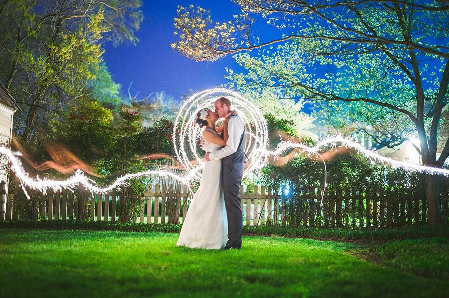 light painting creative wedding portrait