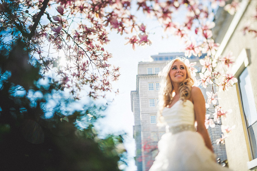 bridal portrait in lafayette park with cherry blossoms