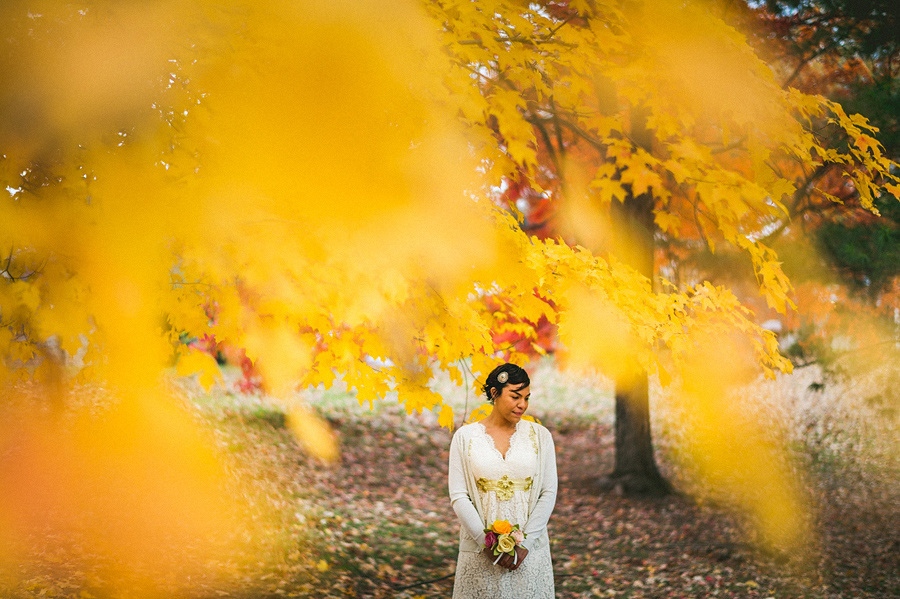 bridal portrait in fall leaves