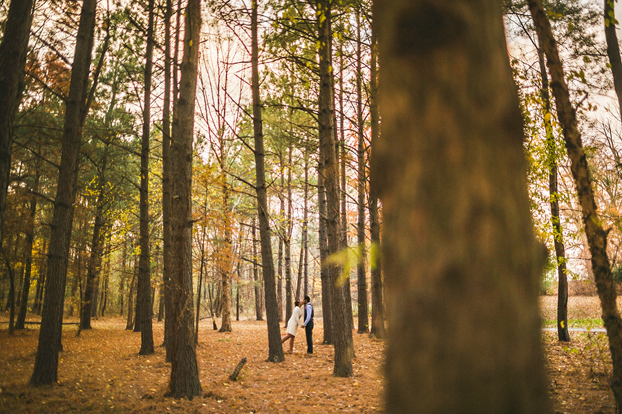 bride and groom in dense baltimore trees
