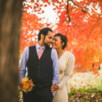 fall leaves during wedding day