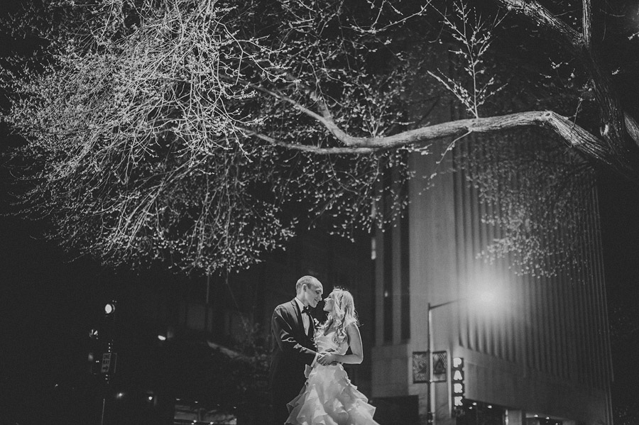 night time portraits with bride and groom