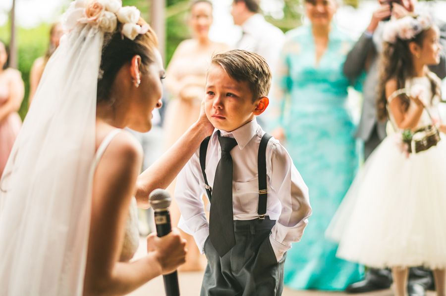 child crying during ceremony vows