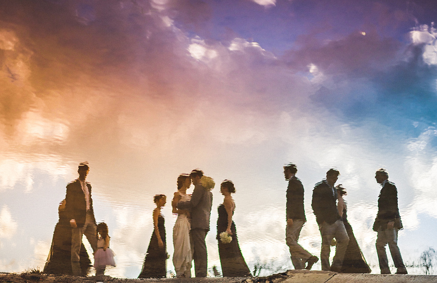 creative group photo of the bridal party