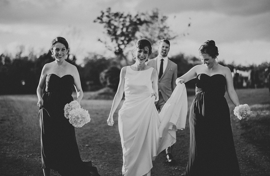 julie walking with her bridal party