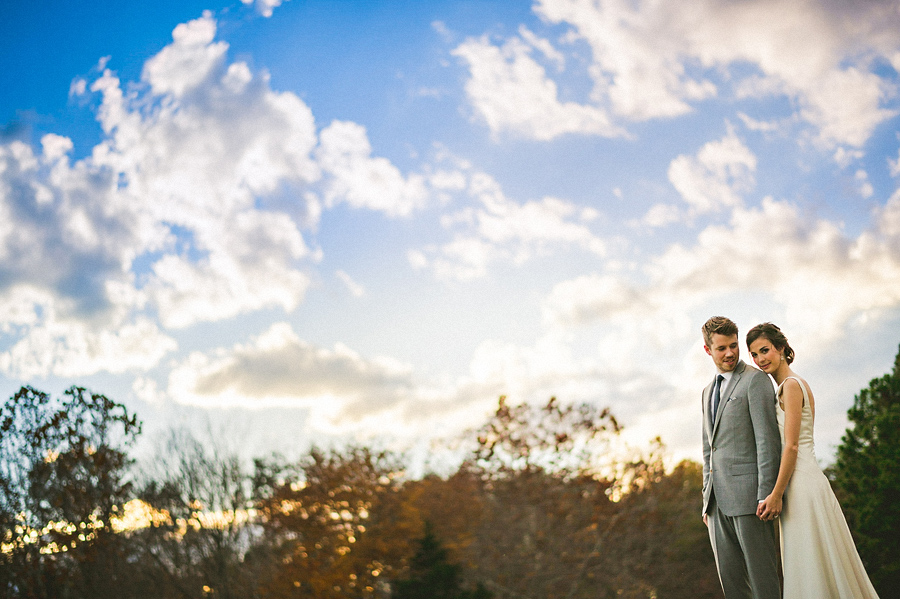 awesome clouds with bridal portrait