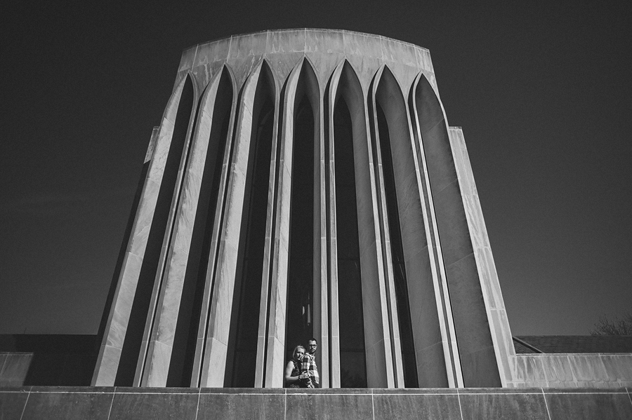 awesome building with couple portrait