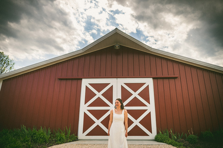 bridal portrait in front of barn