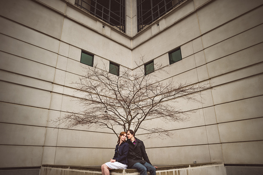 awesome tree during rainy engagement session