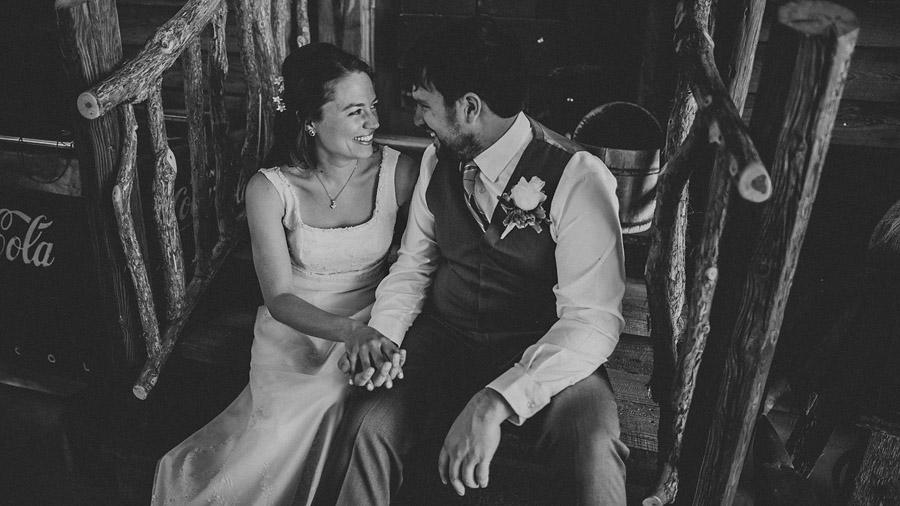 bride and groom sitting together