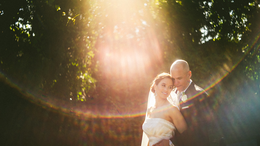beautiful flare for wedding portrait