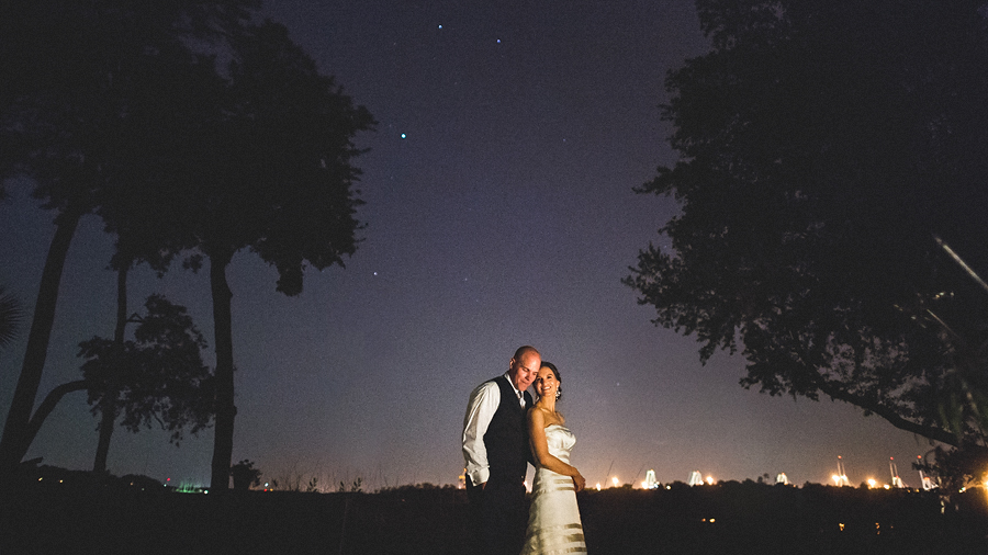 creative night portrait at charleston sc wedding