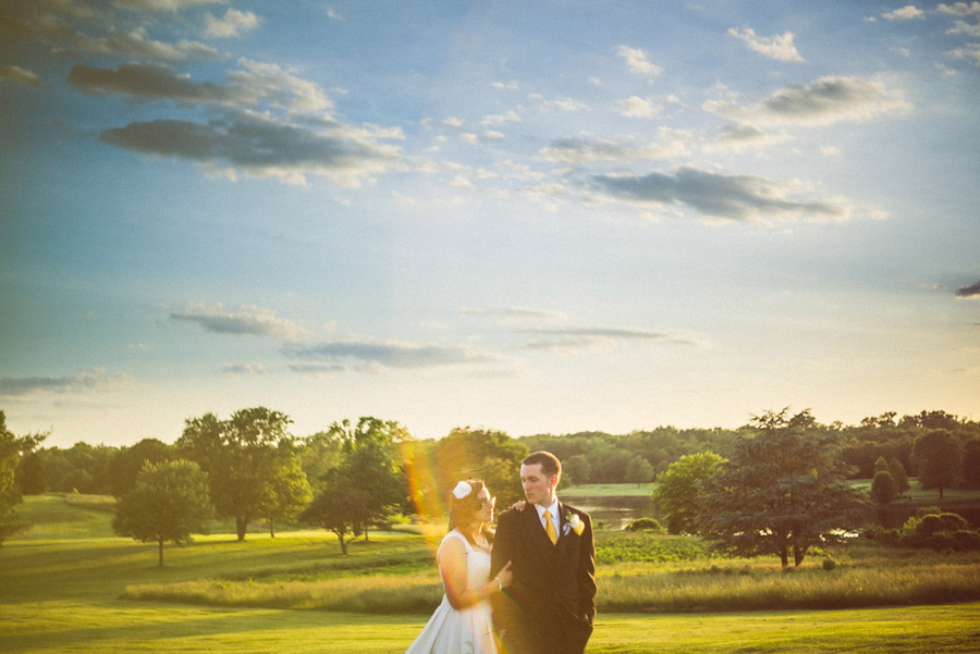 cool flare in portrait of bride and groom
