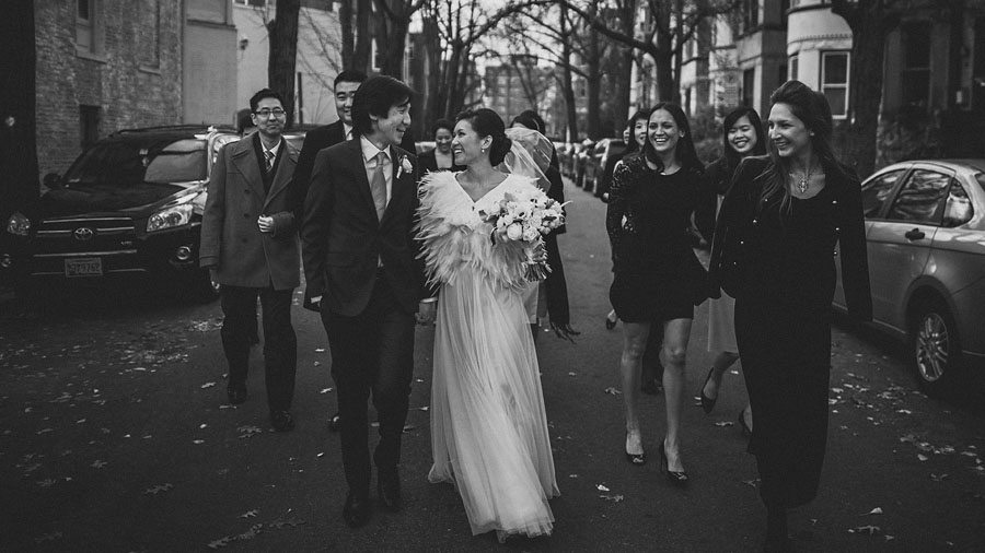 bridal party walking in dc streets