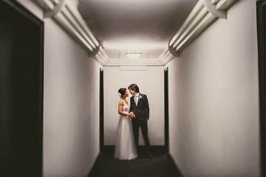 creative bride and groom portrait