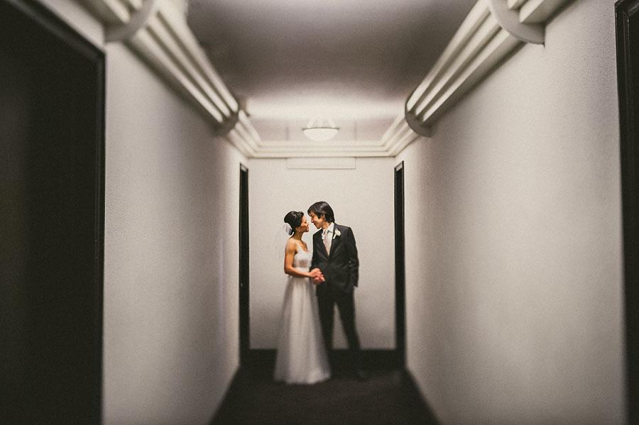 creative bride and groom portrait