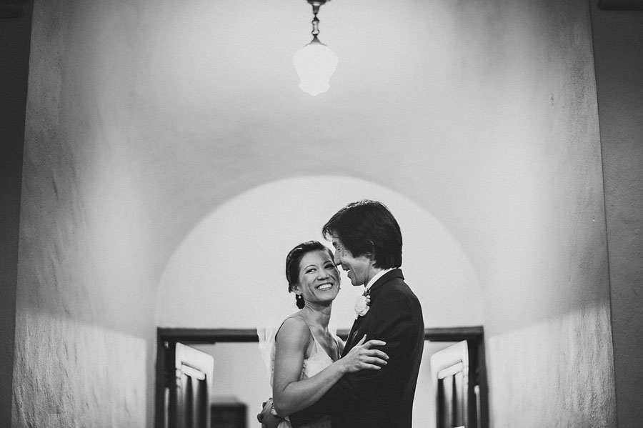 laughing couple in love on wedding day