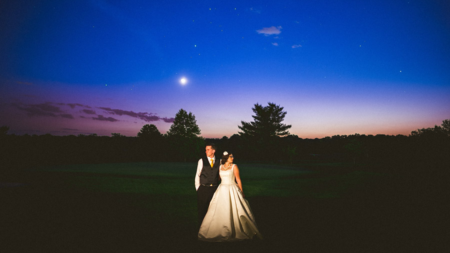 dramatic night portrait of bride and groom